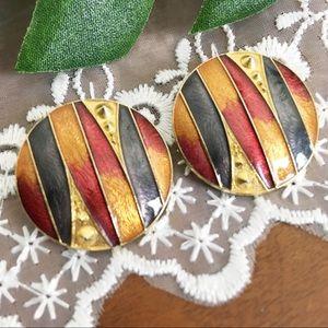 Vintage Color Block Retro Clip On Earrings